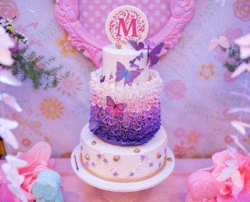 تم جشن تولد کودک - تم تولد پروانه ای - کیک تولد پروانه ای