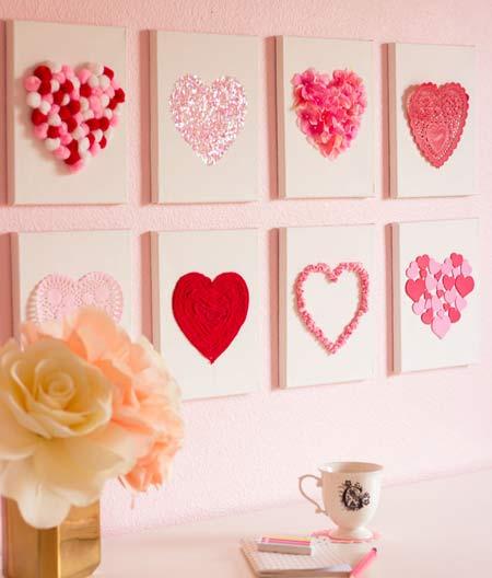 تزیین ولنتاین - تزیین ساده خانه برای ولنتاین - تزیین ولنتاین در خانه - ایده برای ولنتاین - طراحی قلب روی بوم