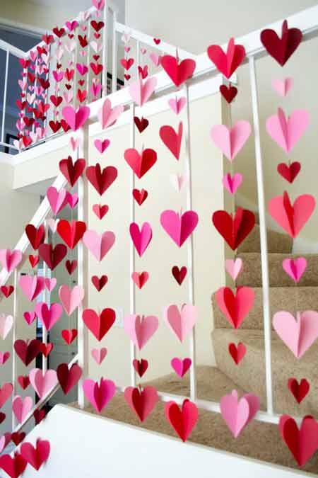 تزیین ولنتاین - ایده برای ولناین - تزیین سادهه ولنتاین - ریسه های قلبی - ریسه کاغذی