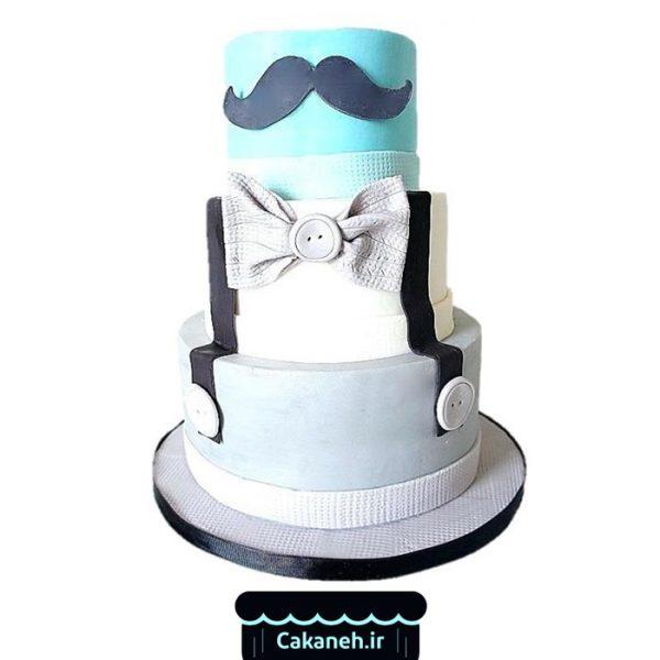 کیک تولد پسرانه - کیک تولد طبقاتی - سفارش کیک تولد - کیک تولد در اصفهان - کیک سبیل و پاپیون