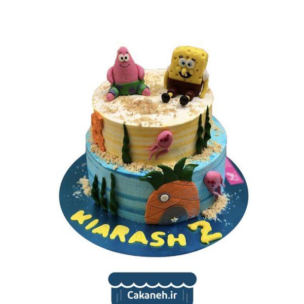 کیک باب اسفنجی - کیک تولد کودک - کیک دو طبقه - کیک خانگی - سفارش کیک تولد - کیک تولد در تهران