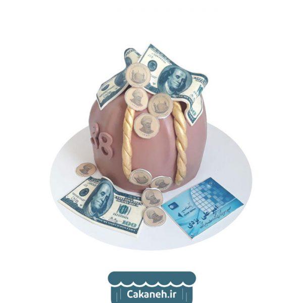 کیسه پول - کیک تولد - کیک خانگی - سفارش کیک تولد - کیک تولد در تهران