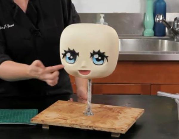 کیک مجسمهای - مجسمه سازی با کیک - مرحله چهارم - طراحی اجزای صورت با فوندانت و رنگ خوراکی